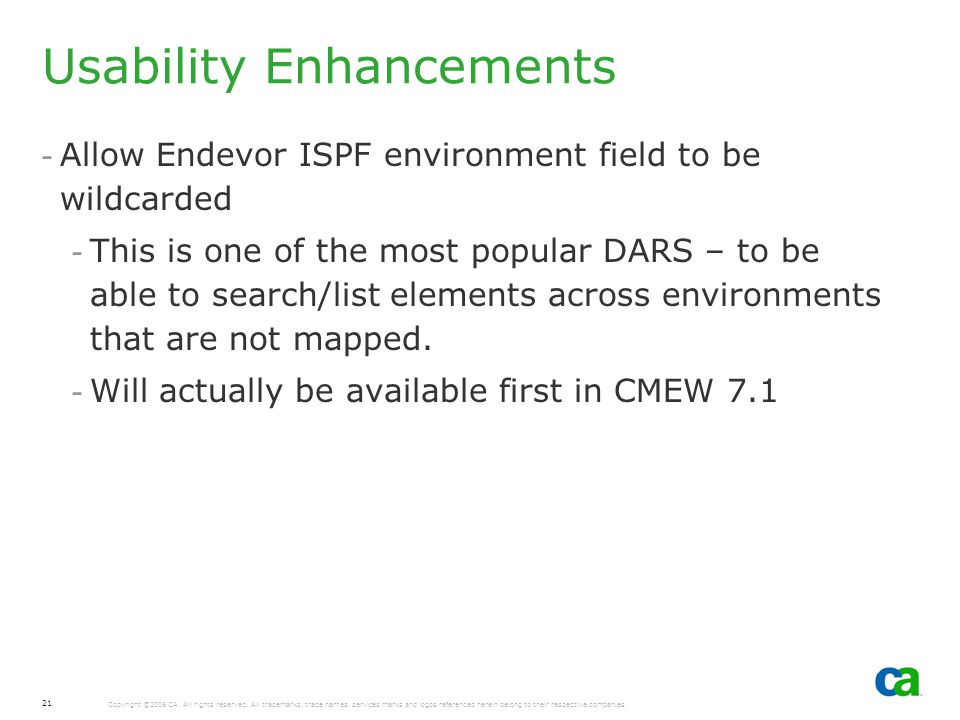 Usability Enhancements