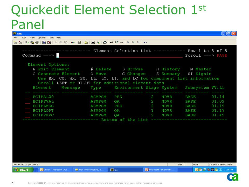 Quickedit Element Selection 1st Panel