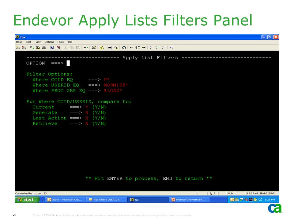 Endevor Apply Lists Filters Panel