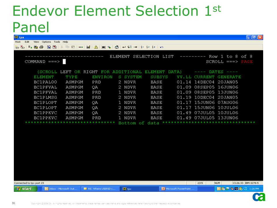 Endevor Element Selection 1st Panel
