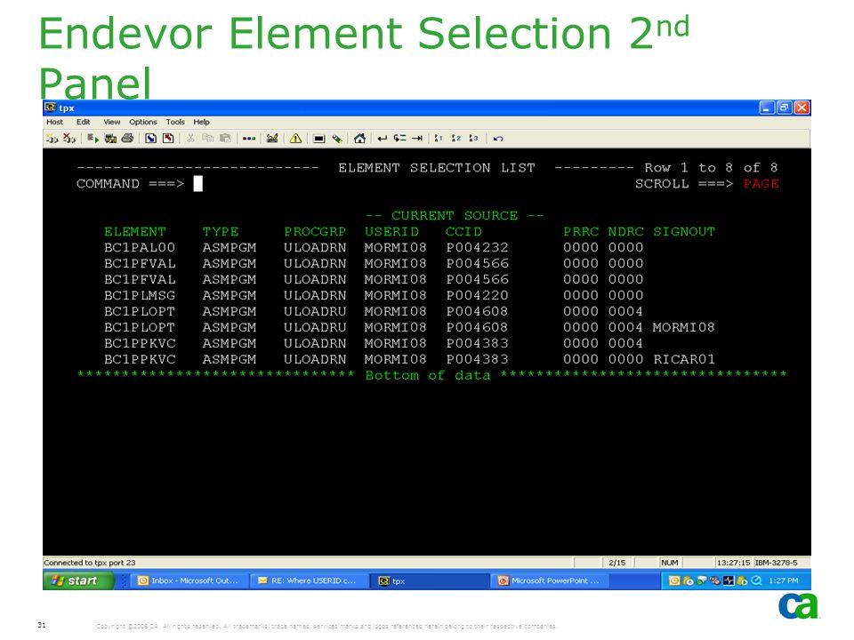 Endevor Element Selection 2nd Panel