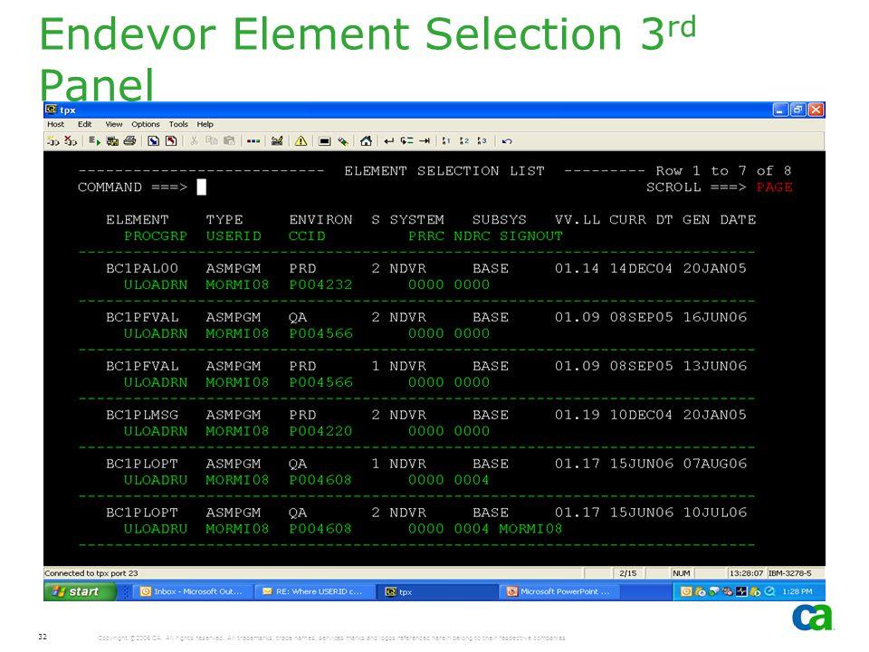 Endevor Element Selection 3rd Panel