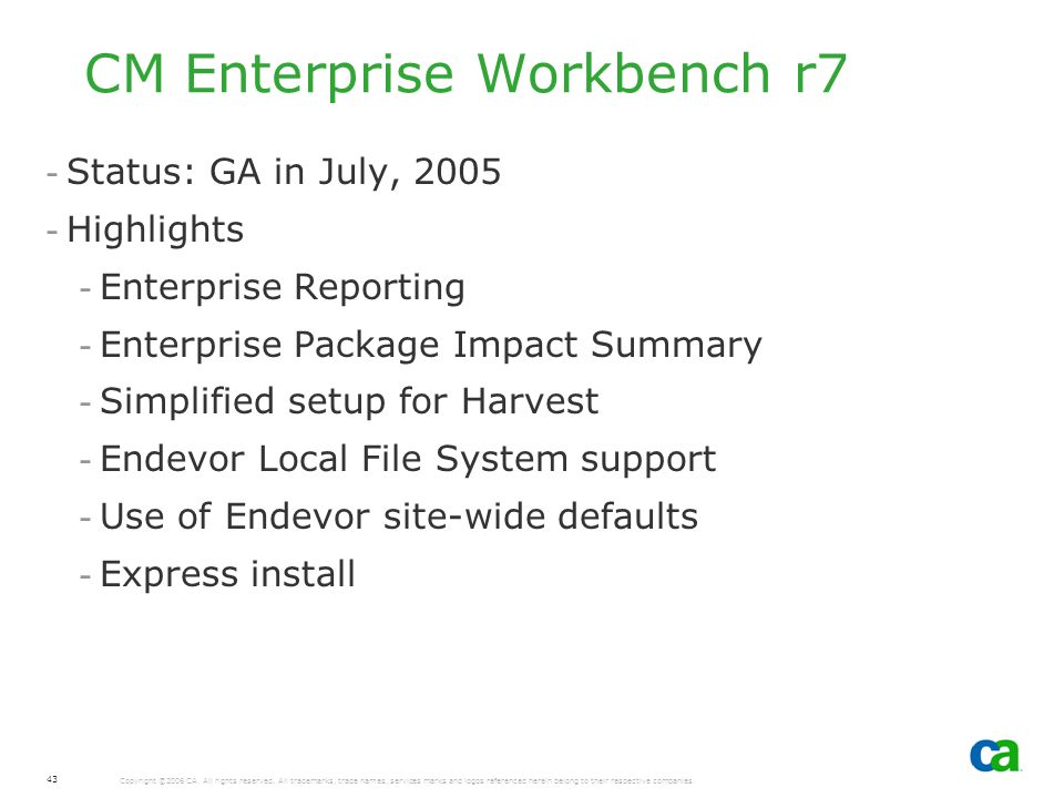 CM Enterprise Workbench r7