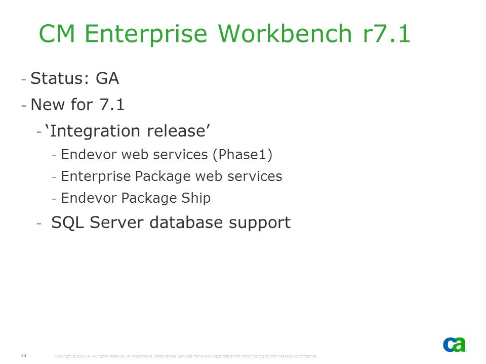 CM Enterprise Workbench r7.1