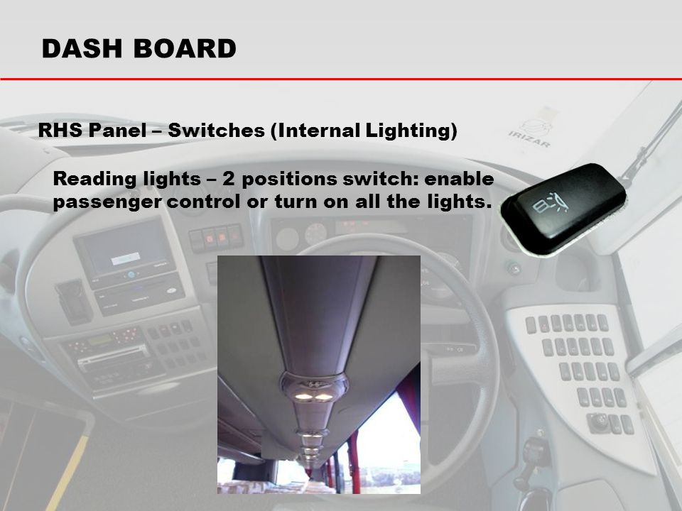 RHS Panel – Switches (Internal Lighting)