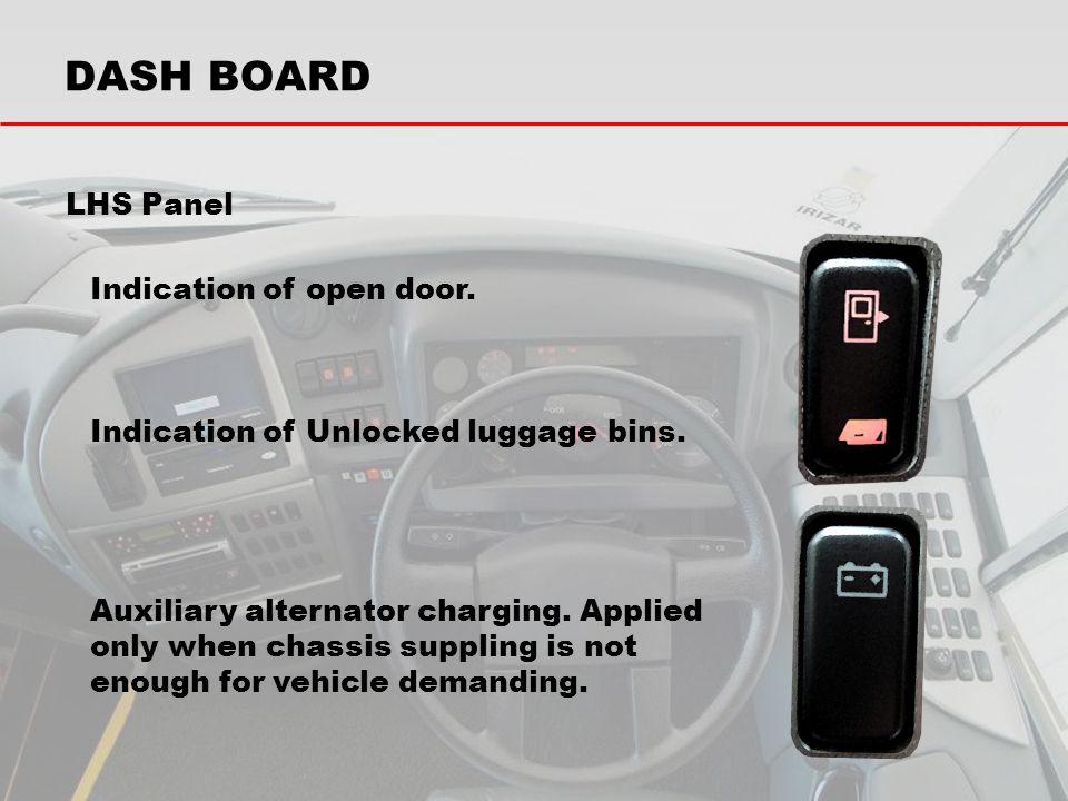 DASH BOARD LHS Panel Indication of open door.
