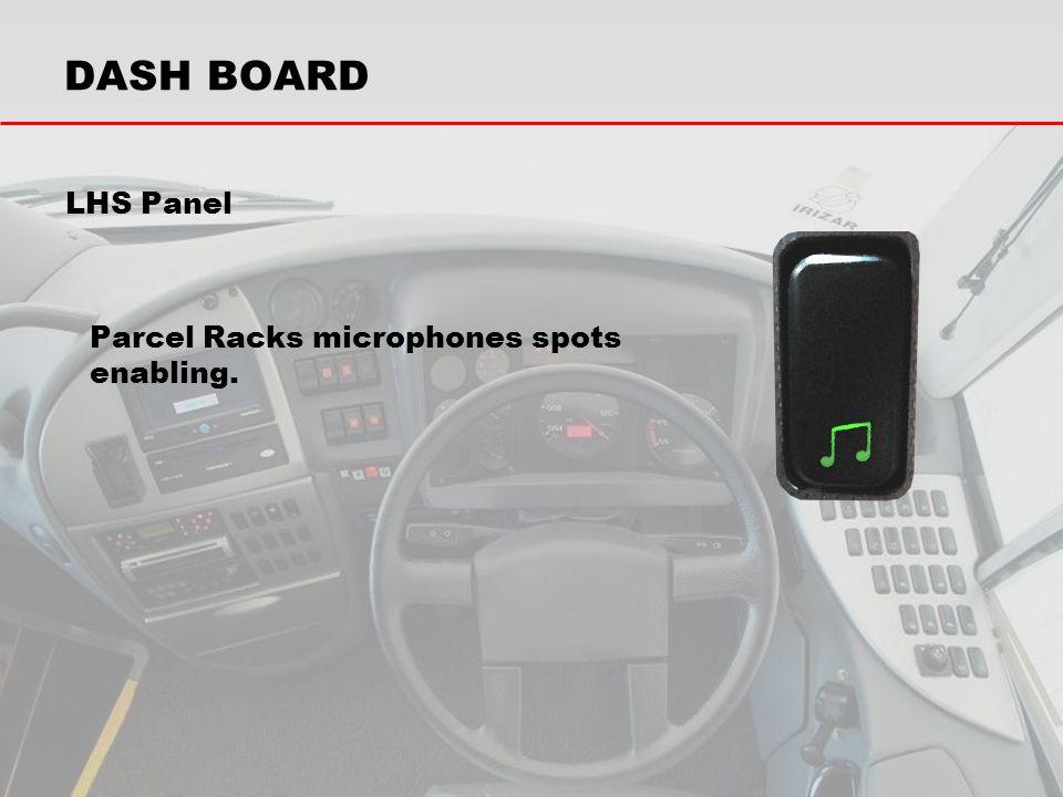 DASH BOARD LHS Panel Parcel Racks microphones spots enabling.