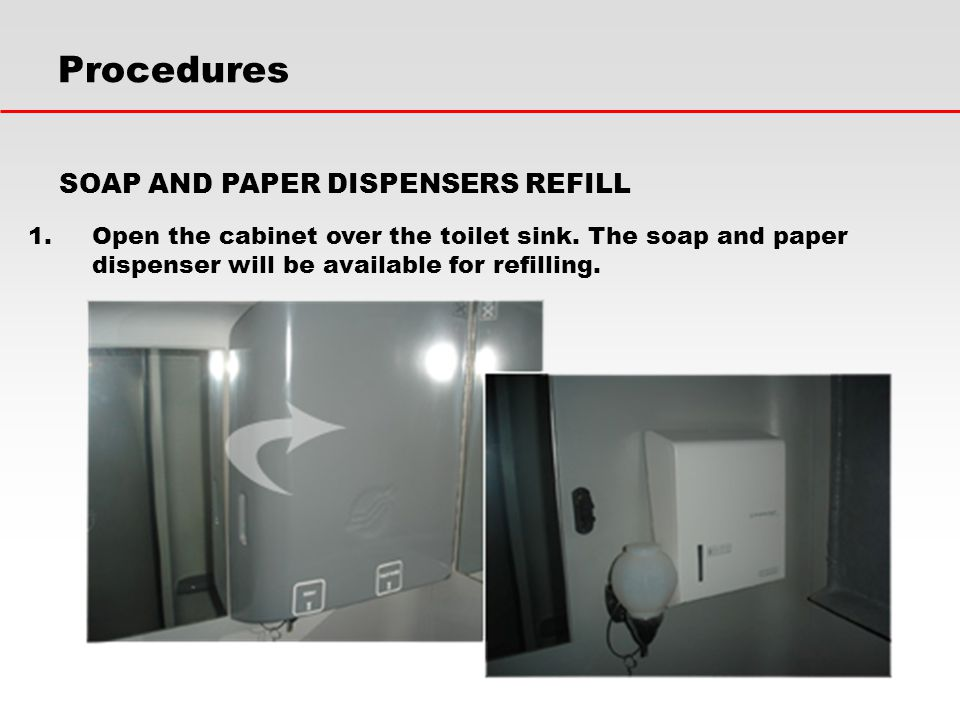 Procedures SOAP AND PAPER DISPENSERS REFILL