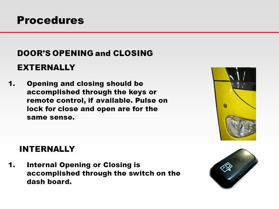 Procedures DOOR'S OPENING and CLOSING EXTERNALLY INTERNALLY
