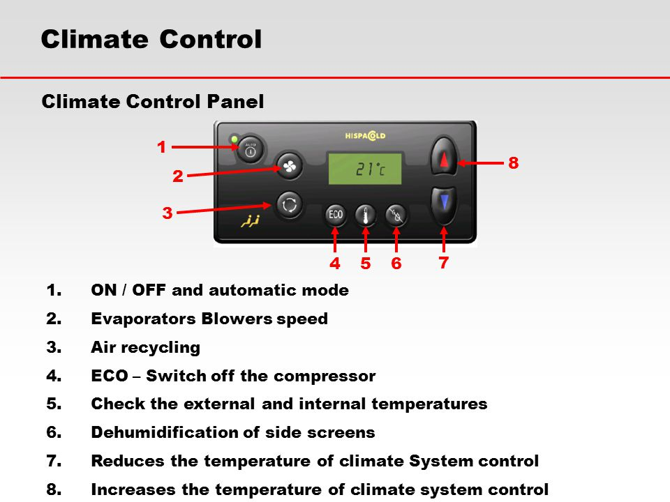 Climate Control Climate Control Panel 1 8 2 3 4 5 6 7
