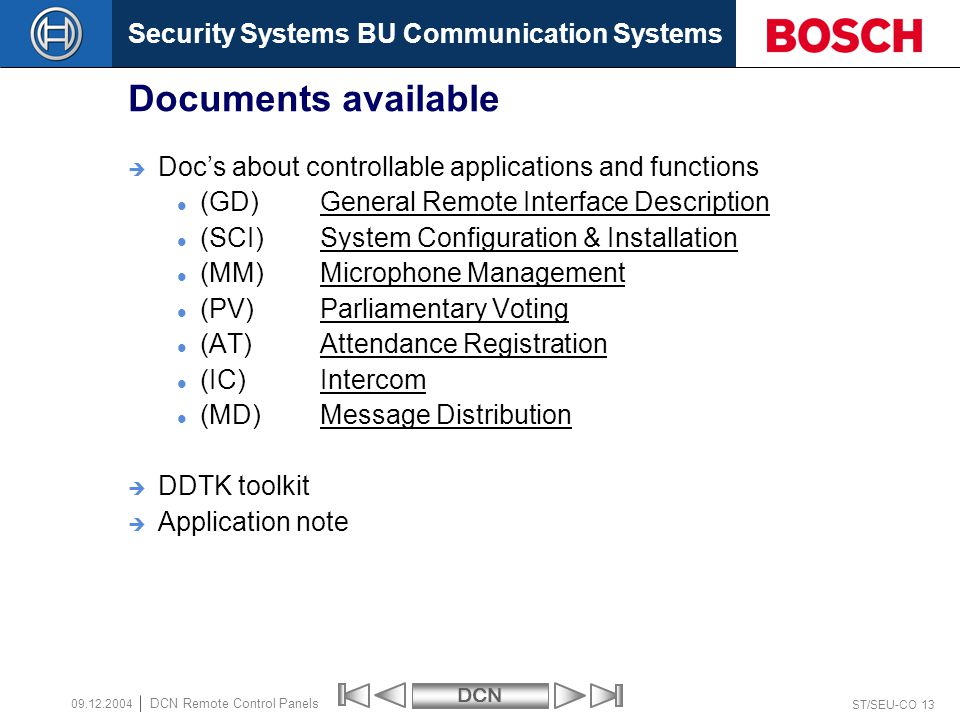 Documents available Doc's about controllable applications and functions. (GD) General Remote Interface Description.