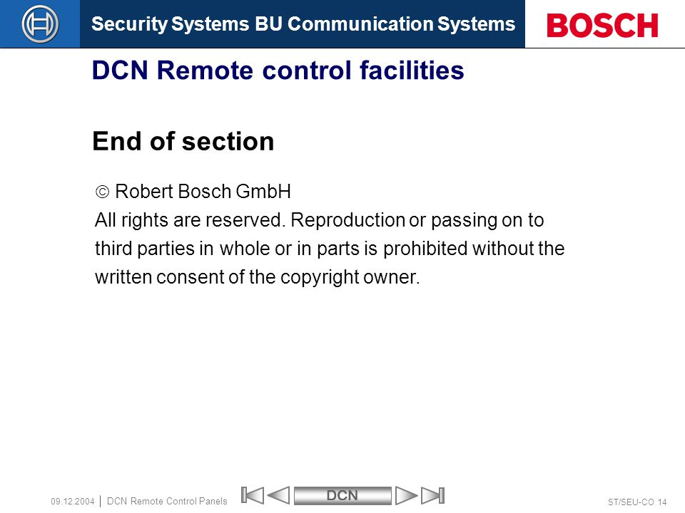 DCN Remote control facilities