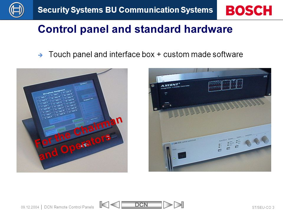 Control panel and standard hardware