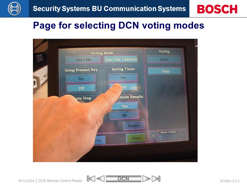 Page for selecting DCN voting modes