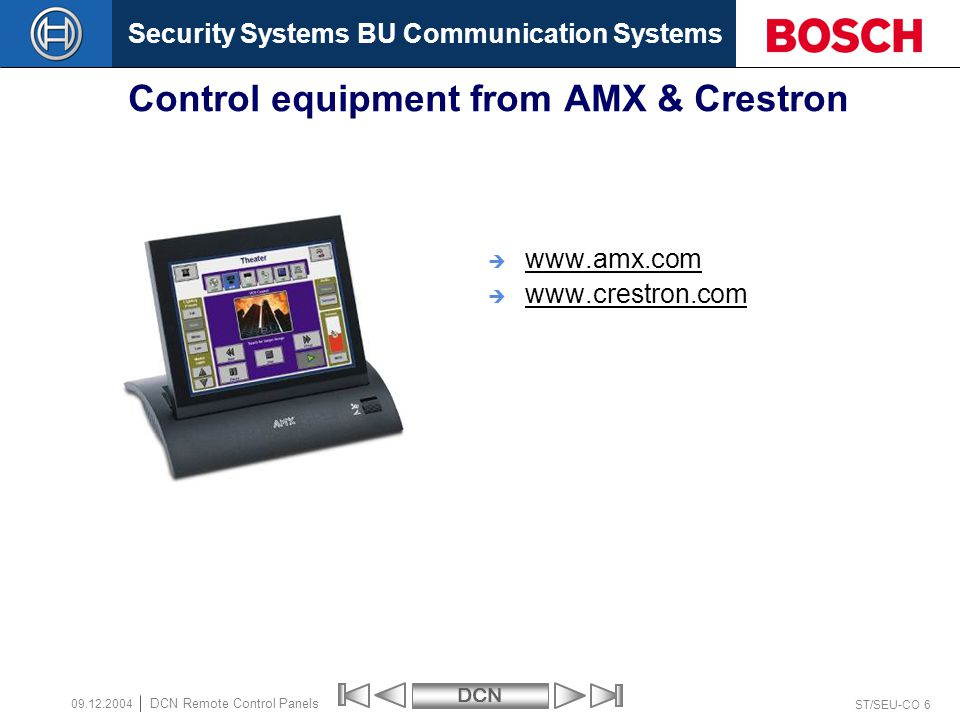 Control equipment from AMX & Crestron