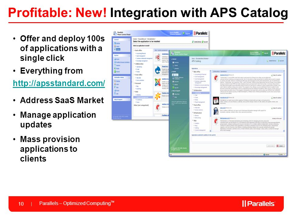Profitable: New! Integration with APS Catalog