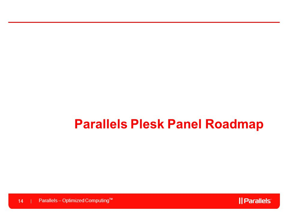 Parallels Plesk Panel Roadmap