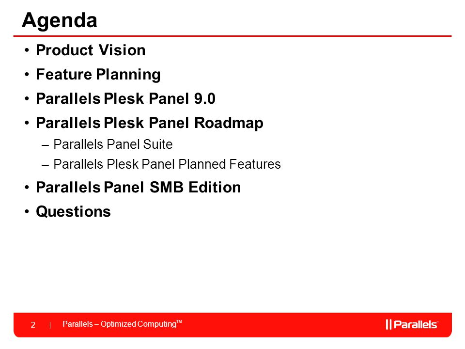 Agenda Product Vision Feature Planning Parallels Plesk Panel 9.0