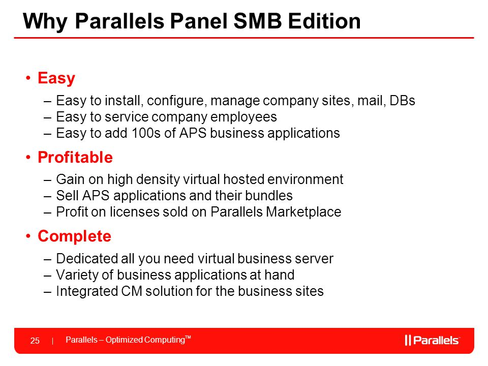 Why Parallels Panel SMB Edition