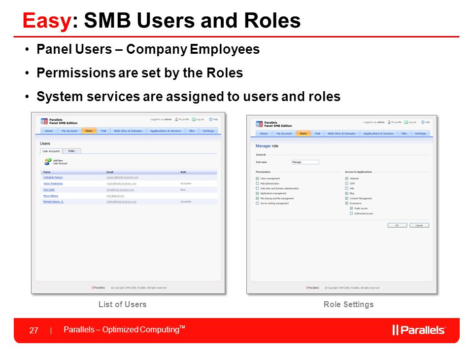 Easy: SMB Users and Roles
