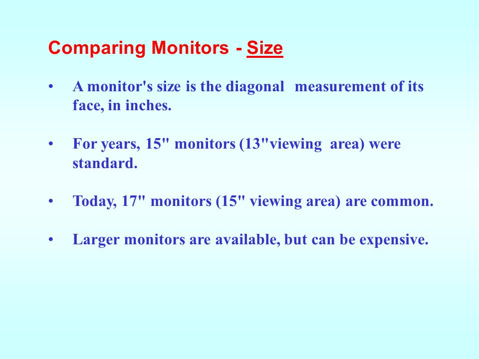 Comparing Monitors - Size