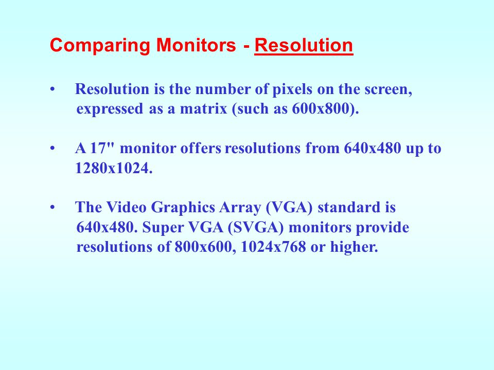 Comparing Monitors - Resolution