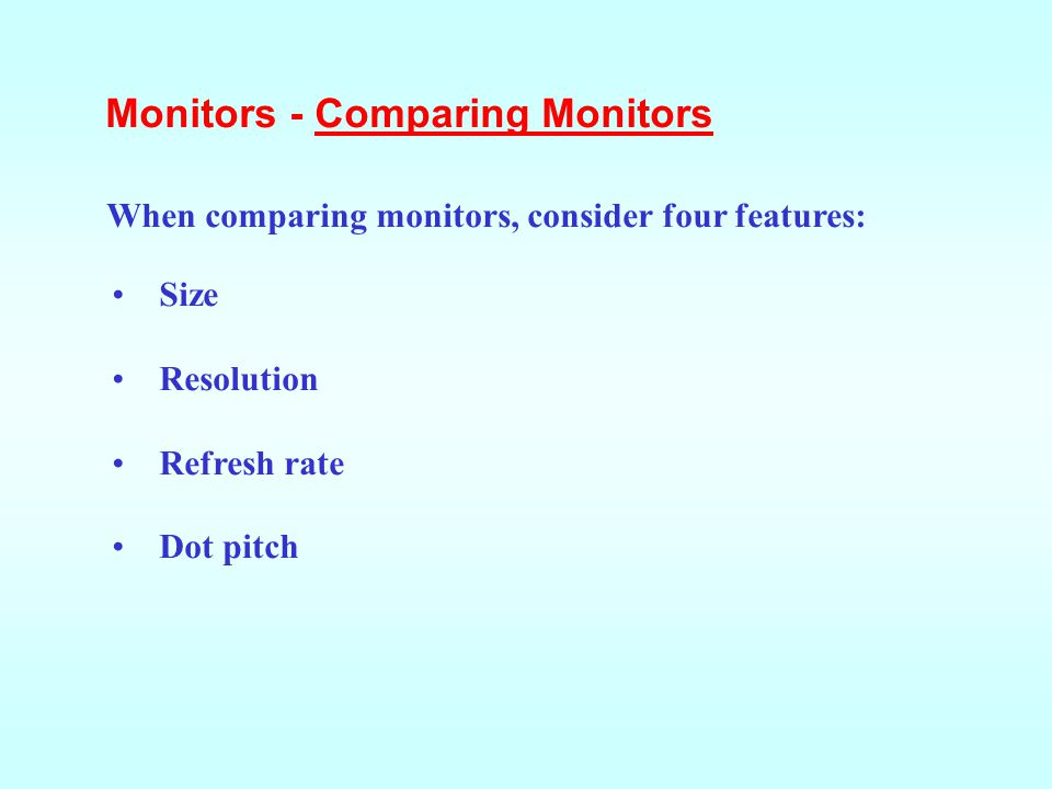 Monitors - Comparing Monitors