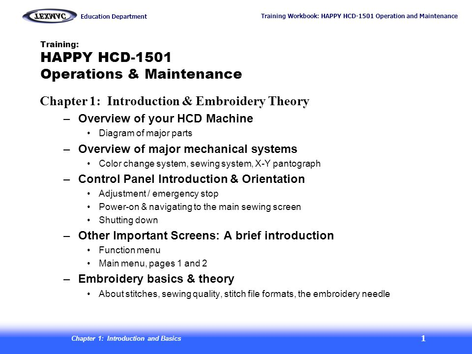 Training: HAPPY HCD-1501 Operations & Maintenance