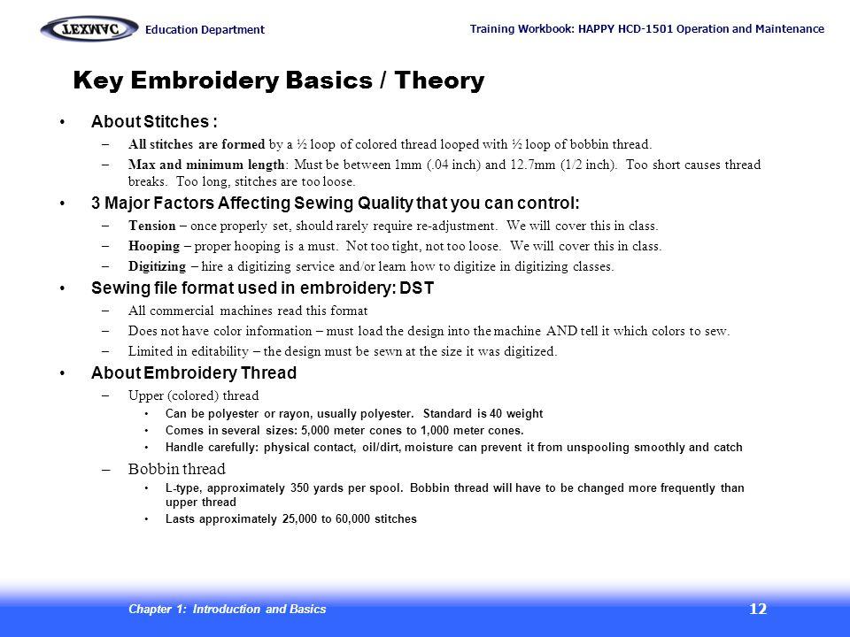 Key Embroidery Basics / Theory