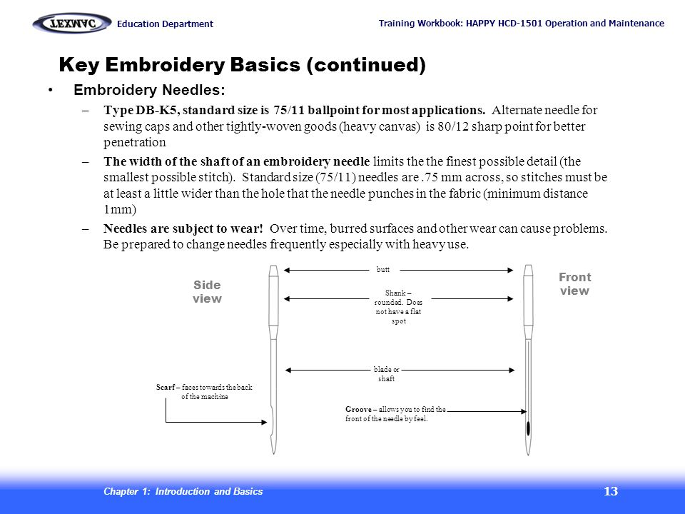 Key Embroidery Basics (continued)