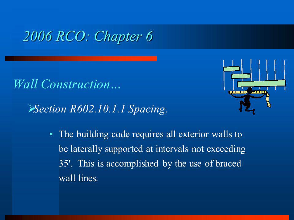 2006 RCO: Chapter 6 Wall Construction… Section R602.10.1.1 Spacing.