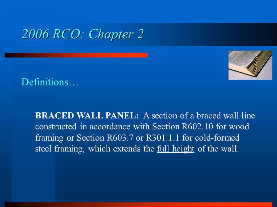 2006 RCO: Chapter 2 Definitions…