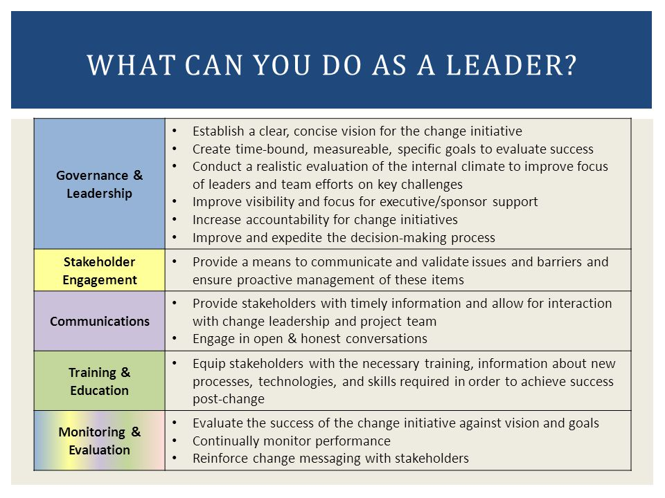 What can you do as a leader