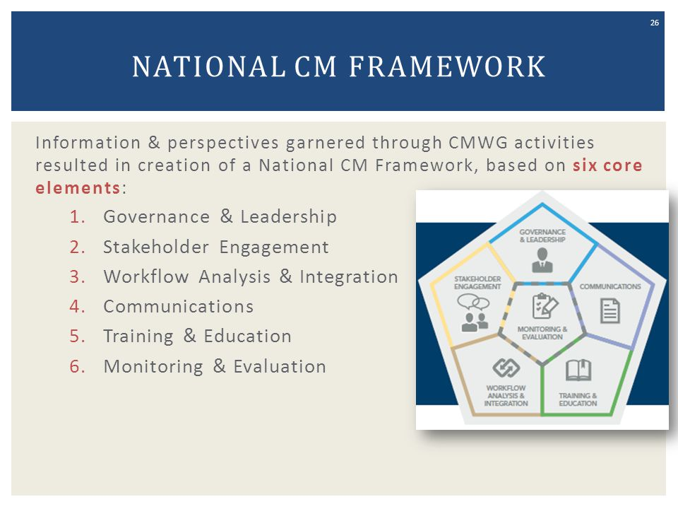 National CM Framework Governance & Leadership Stakeholder Engagement