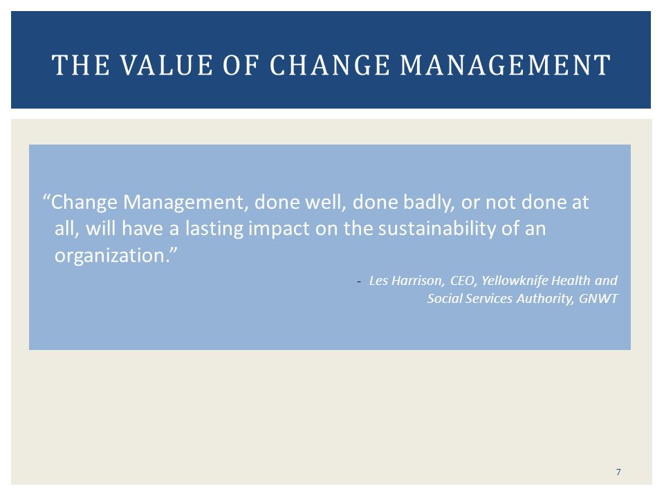 The Value of Change Management