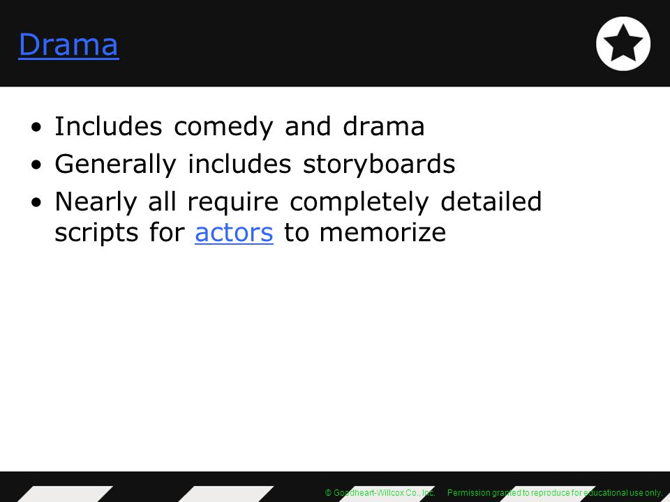 Drama Includes comedy and drama Generally includes storyboards