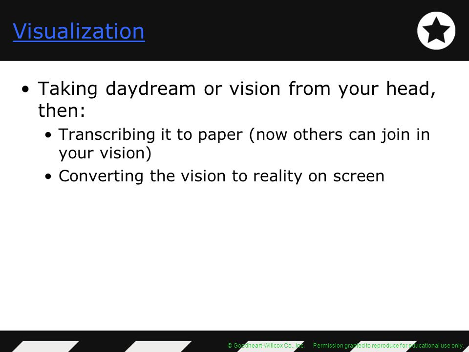 Visualization Taking daydream or vision from your head, then: