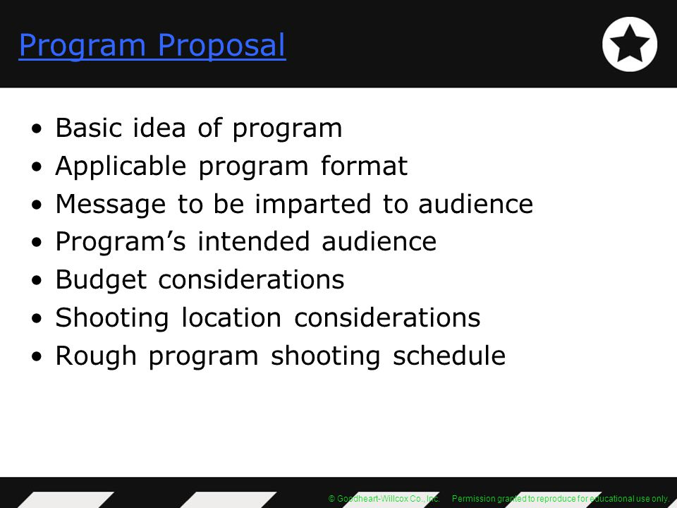 Program Proposal Basic idea of program Applicable program format
