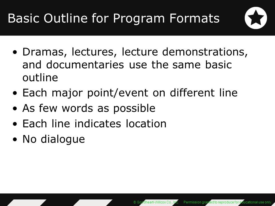 Basic Outline for Program Formats