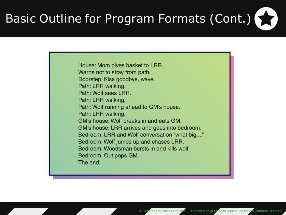 Basic Outline for Program Formats (Cont.)