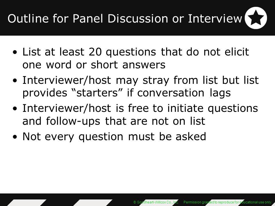 Outline for Panel Discussion or Interview