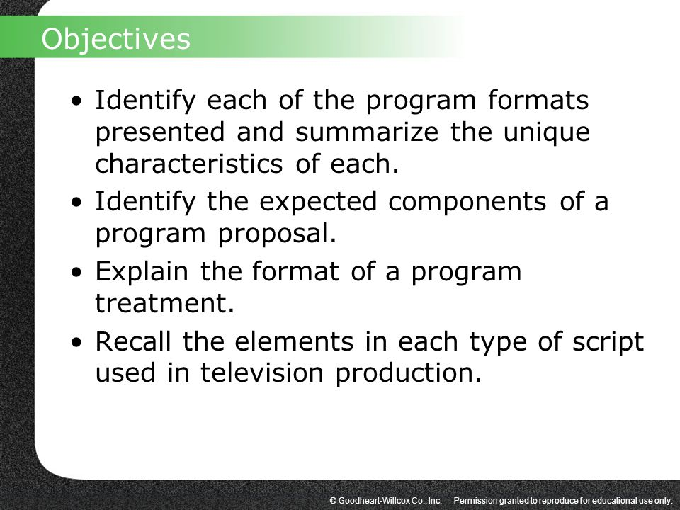 Objectives Identify each of the program formats presented and summarize the unique characteristics of each.