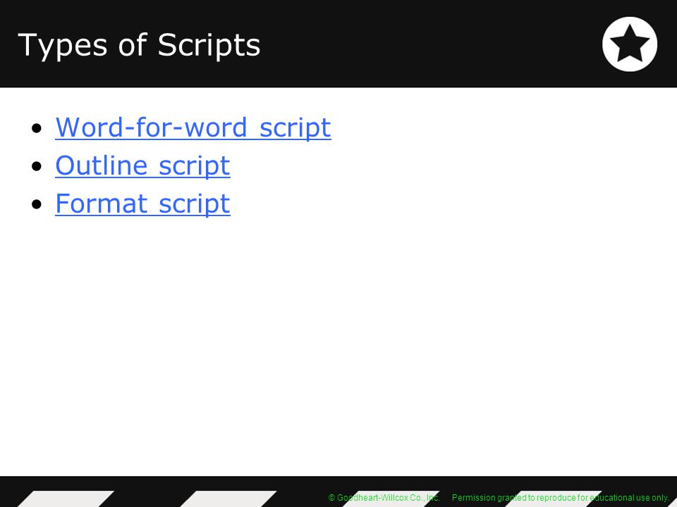 Types of Scripts Word-for-word script Outline script Format script