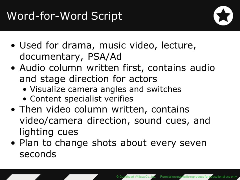 Word-for-Word Script Used for drama, music video, lecture, documentary, PSA/Ad.