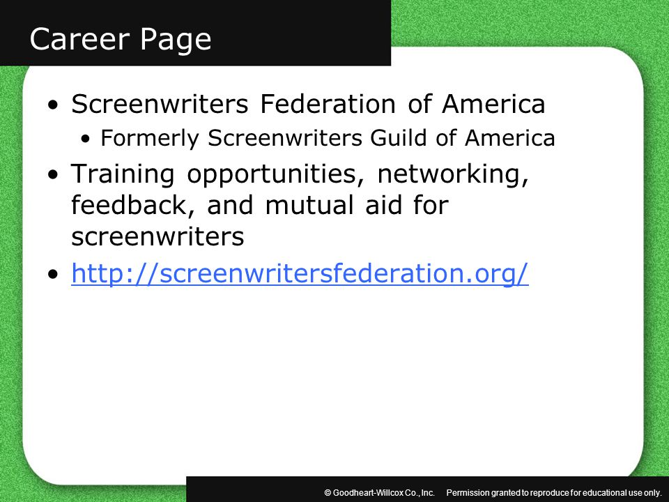 Career Page Screenwriters Federation of America