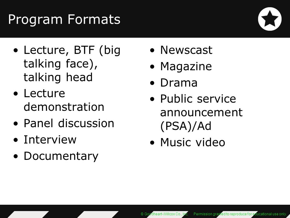 Program Formats Lecture, BTF (big talking face), talking head