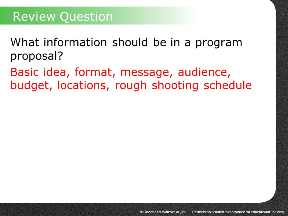 Review Question What information should be in a program proposal.