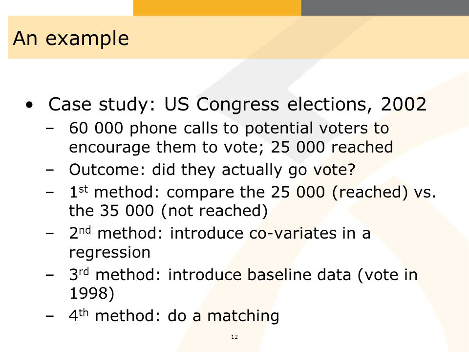 An example Case study: US Congress elections, 2002
