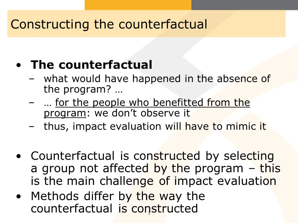 Constructing the counterfactual