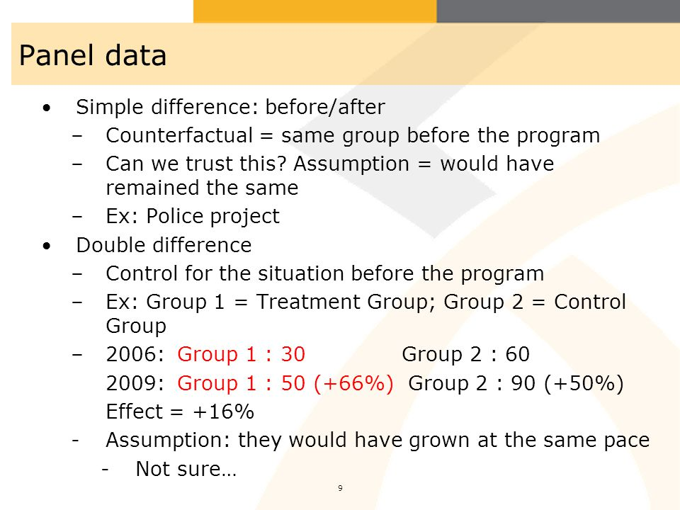 Panel data Simple difference: before/after
